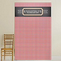 Red and white checkered background photo backdrop with rustic chalkboard design personalized with 2 lines of custom print