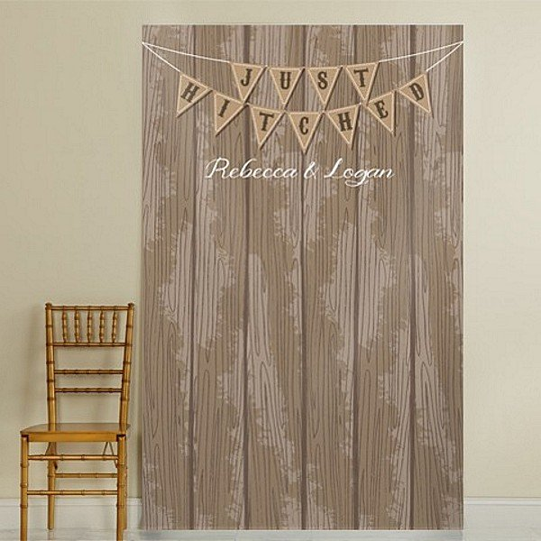 Barn siding background photo backdrop with 'Just Hitched' Pennants personalized with bride and groom's name