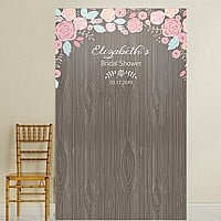 Woodgrain design vinyl photo backdrop with ethereal floral arch design personalized for bridal shower