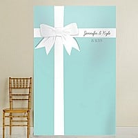 Teal blue background vinyl photo backdrop w/ white ribbon and bow design personalized with 2 lines of custom print