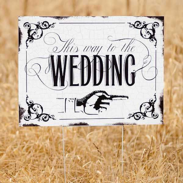 Vintage This Way To The Wedding Directional Yard Sign