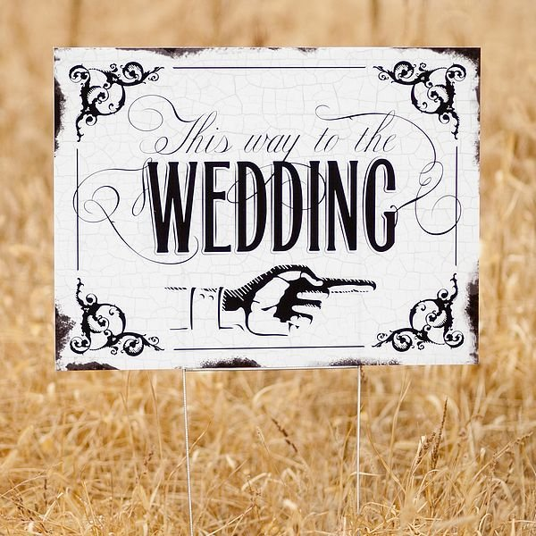 Wedding Reception Signs Ideas: Vintage This Way To The Wedding Directional Yard Sign