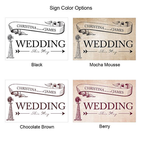 Rustic Country Wedding Directional Sign Colors