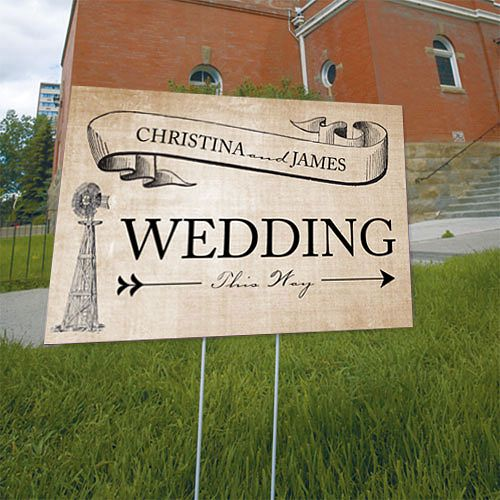 Rustic Country Wedding Directional Sign in Mocha Mousse