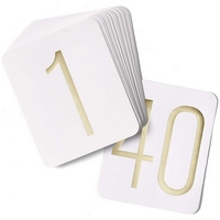 white 5 x 6 table cards with gold foil numbers 1 thru 40