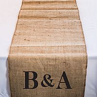 120 inch personalized burlap table runner with equestrian monogram