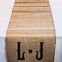 120 inch personalized burlap table runner with vineyard monogram