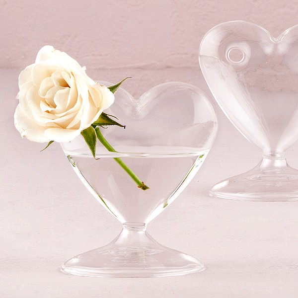 4 Pc Miniature Clear Blown Glass Heart Table Vase Set
