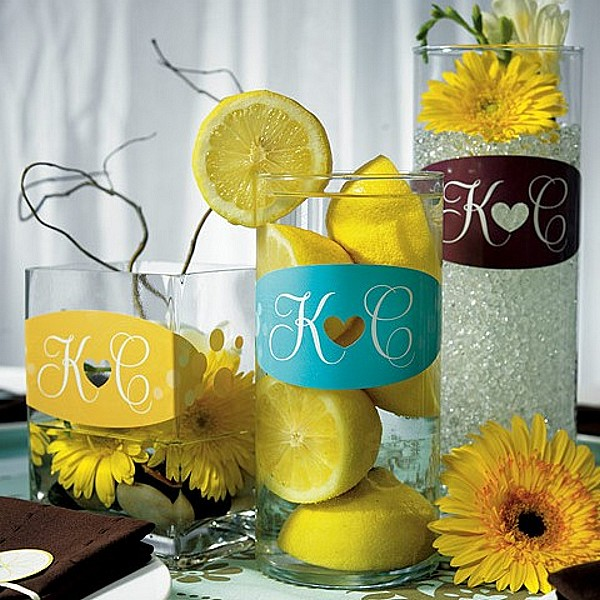 Chocolate, Aqua Blue and Sunflower Heart Design Vase Clings