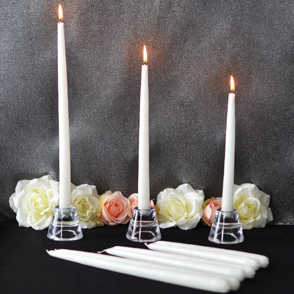 Taper candles available in three assorted sizes including 15 inch, 12 inch, and 10 inch