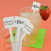 6 inch plastic stir sticks with square tops personalized with your choice of imprint color, letter style, and design or monogram