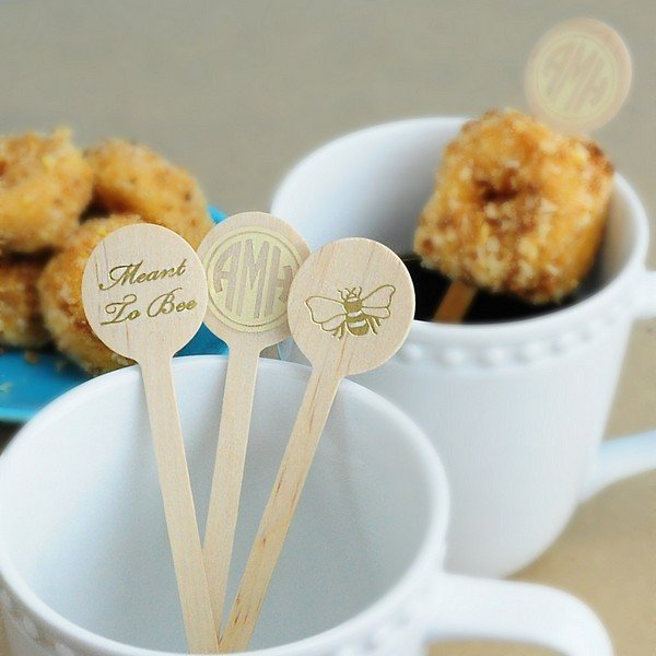 6 inch wooden stir sticks with round tops personalized with your custom text in the imprint color of your choice.