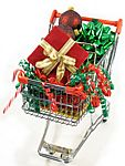 Shopping Cart with Holiday Gifts for Friends for Friends and Family