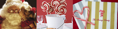 Christmas magic inspiration collage includes child kissing santa, Peppermint Lollipop centerpiece image courtesy of realsimple.com, and personalized big stripe christmas napkins