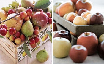Rustic fall fruit centerpieces