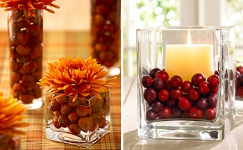 Fall nut and berry centerpieces