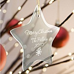 Engraved Glass Star Christmas Tree Ornament