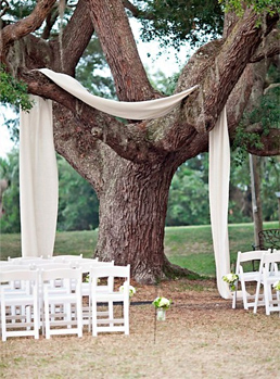 Draped Fabric Ceremony Decoration via Pinterest