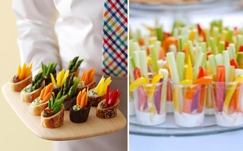 mini veggies and dip cups