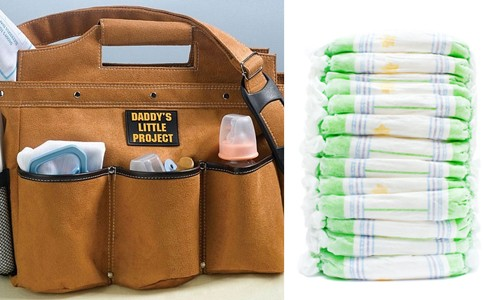 Daddy's Little Project Diaper Bag and Diaper Stack for Diaper Party gifts