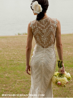Mermaid lace high back wedding dress by elegant park