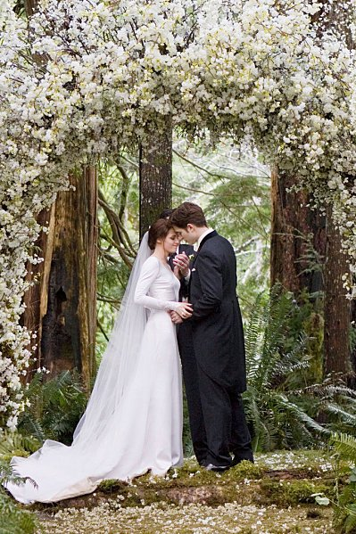 Twilight floral wedding arch via The Vegas Wedding Planner