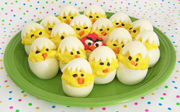 Angry Bird Hatching Deviled Eggs