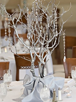 Crystal Branch Winter Wedding Centerpiece