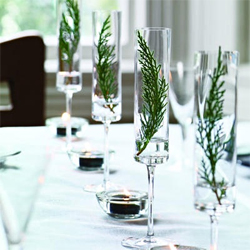 Modern Evergreen Sprig Winter Wedding Centerpiece