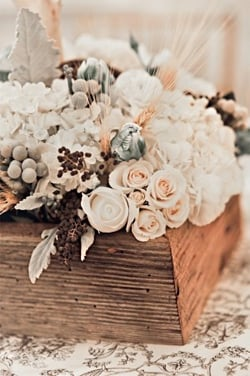 Rustic Wooden Winter Wedding Centerpiece