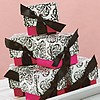 Black and fuchsia pink wedding favor boxes