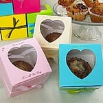 Personalized Jumbo Cupcake Boxes with Heart Shaped Window