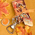 Leaf shaped copper bottle opener favors