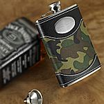 Engraved Green Camouflage Flasks