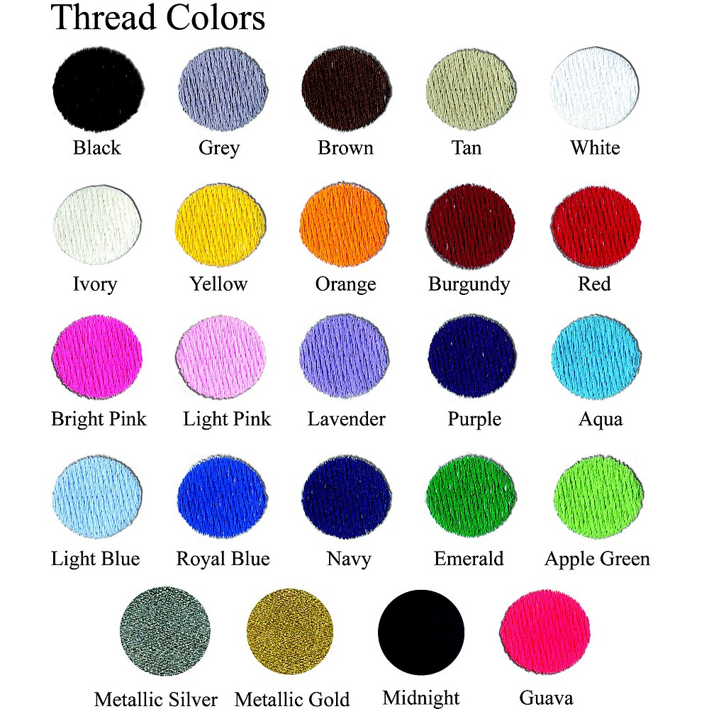 Available thread color options for personalization