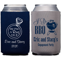 Personalized grey and navy neoprene can coolers with engagement designs and two lines of text in popular lettering styles and imprint colors