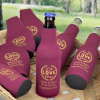 Premium neoprene zip-up bottle huggers personalized with wedding engagement theme designs and custom print