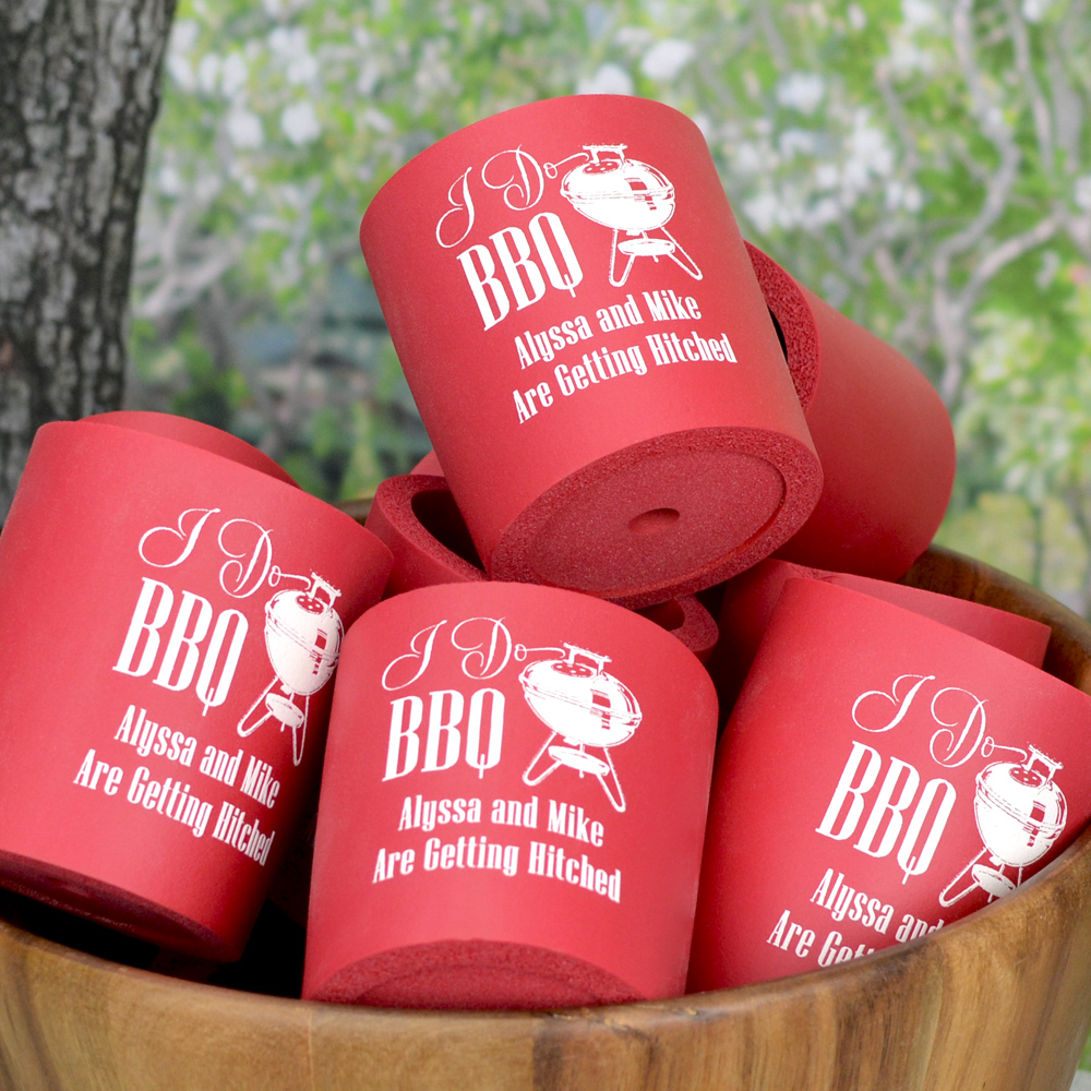 Rigid foam can cooler holders in red with white imprint, I Do BBQ design, and custom text