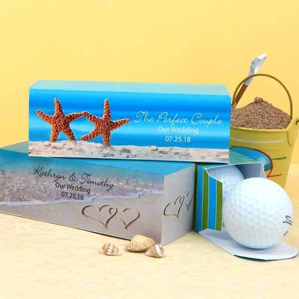 Custom printed beach design 5 x 2 rectangular wedding favor boxes