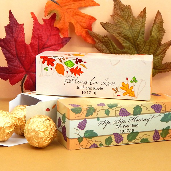 Custom printed Fall design 5 x 2 rectangular wedding favor boxes