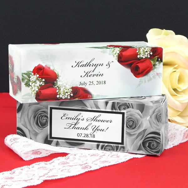 Custom printed roses design 5 x 2 rectangular wedding favor boxes