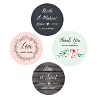 Gorgeously designed to complement any vintage, rustic, or modern wedding, these personalized floral garden round sticker labels will look beautfiul when paired with your wedding favors.  Add romance and a feminine touch to your wedding, bridal shower, engagement party, and more.