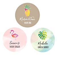 Personalized tropical beach round favor labels are a fun addition to any beach themed wedding or destination event. They look great when paired with favor bags, gift boxes, candy bags, and more.