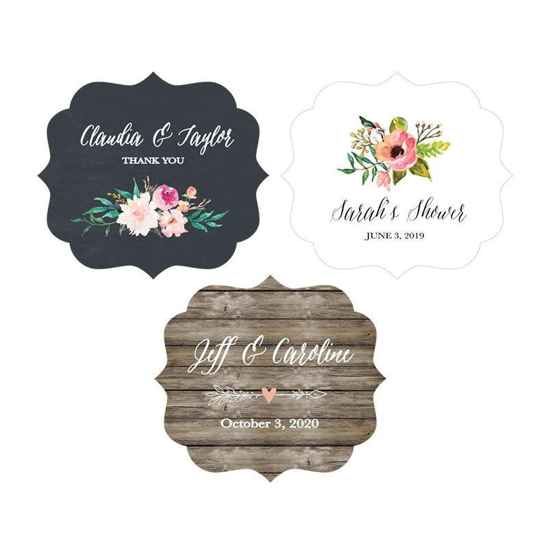 Slightly larger than traditional round favor labels, these personalized floral garden frame labels will complement any vintage, rustic, or modern wedding favors.  Add romance and a feminine touch to your wedding, bridal shower, engagement party, and more.