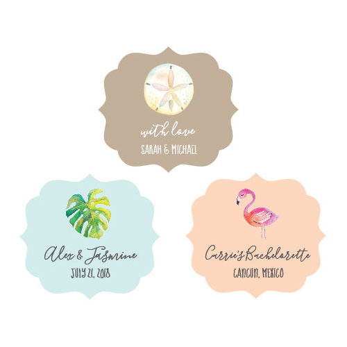 Personalized Tropical Beach Favor Sticker Frame Labels