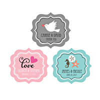 Decorate your wedding favors with these personalized framed favor labels featuring a pretty scalloped edge border.