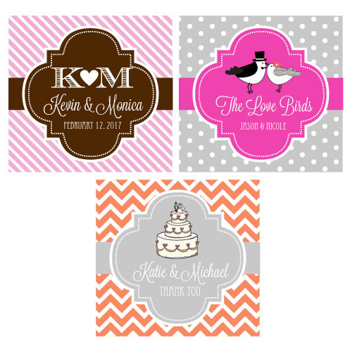 Personalized Square Wedding Stickers and Favor Tags