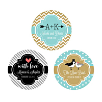 Personalize your wedding favors with these stylish personalized round favor labels. Ready to use - just peel and stick.