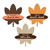 Accent your fall themed wedding favors with these personalized leaf shaped sticker labels.  Such a cute addition to wedding guest gifts, leaf shaped stickers are perfect for favor boxes, bags, jars, and so much more.