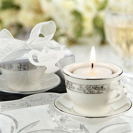 Porcelain teacup tea light favors with personalized thank you tag